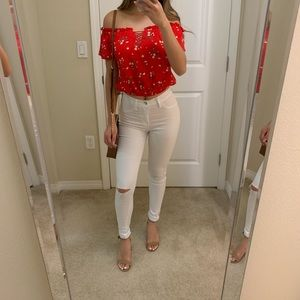 Red Floral Top